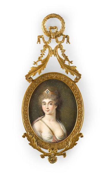 Ecole française vers 1800.  Portrait d'une...