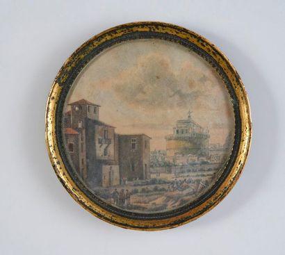 Ecole Italienne vers 1800.  Vue du château...