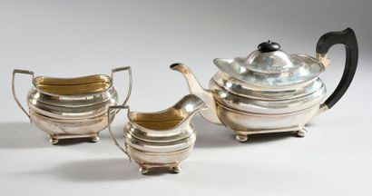 Service à thé en argent 925‰, composé d'une...