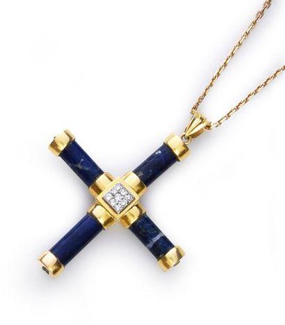 Croix pendentif en or 750‰ et bâtonnets de...