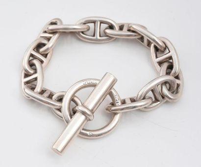 HERMES. Bracelet gourmette en argent 925‰...