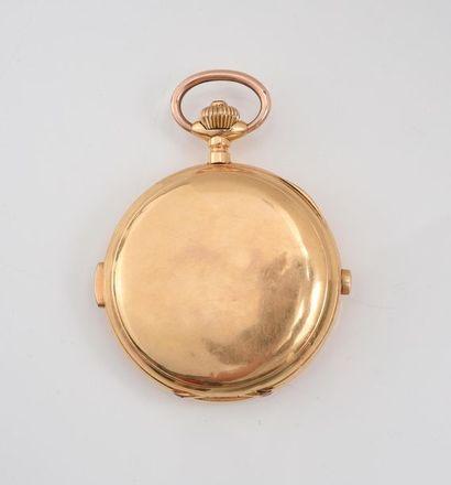 Montre de poche en or 750‰ à sonnerie, phases de la lune, jour du mois, de la semaine,...