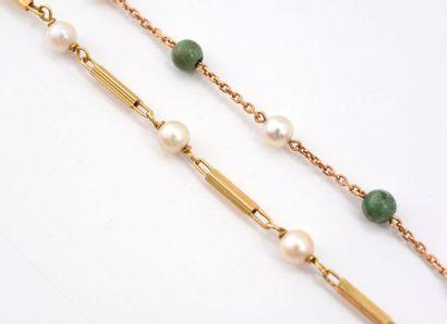 Lot de 2 bracelets en or 750‰, orné de perles de culture et de boules de pierres...