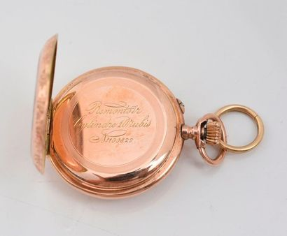Montre de col en or 585‰, le boitier gravé à motif de feuilles d'acanthes, le dos...