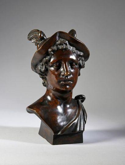 Buste en bronze représentant Hermès, à patine...