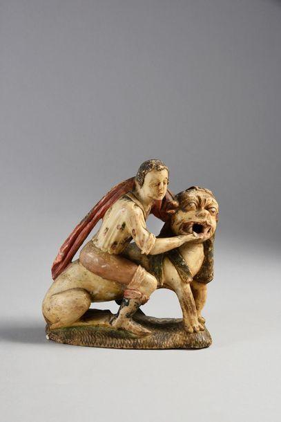 Groupe en albâtre sculpté polychrome, représentant...
