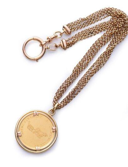 Chaine de montre en or 750e, fermoir à anneau...
