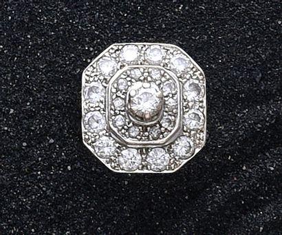 Bague octogonale en or gris 750e, ornée d'un...