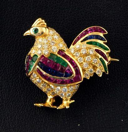 Broche Coq en or 750e sertie de diamants,...