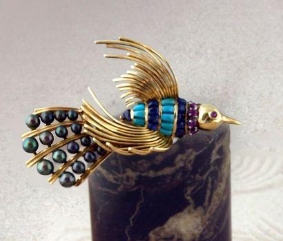 Broche Oiseau de paradis en or 750e, le corps...