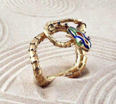 Bracelet articulé en or 585e stylisant un...