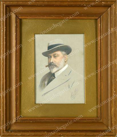 ÉDOUARD VII, roi de Grande-Bretagne (1841-1910).Portrait...