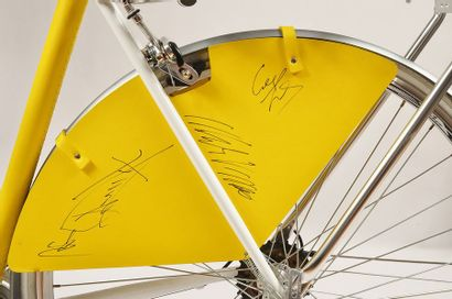 Bicycle dressed in yellow leather in homage to the Leader's Jersey, made by the...