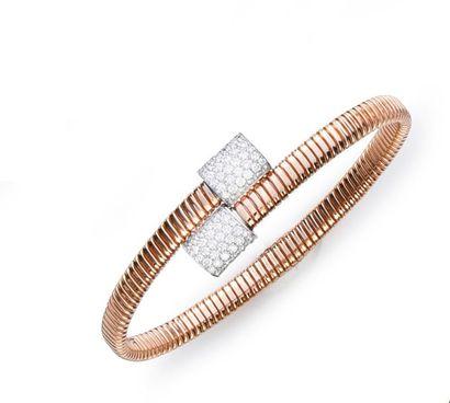 Bracelet tubogaz en or rose 750°°; chaque...