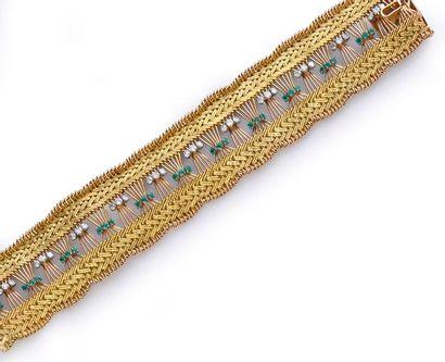 Bracelet souple en fils d'or 750°° tressé,...