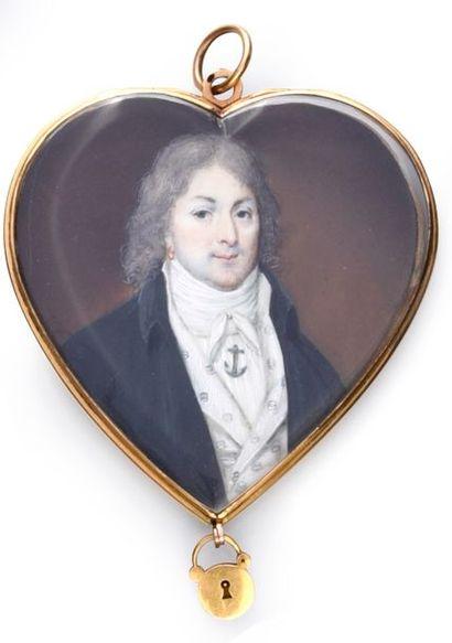 Rare médaillon pendentif double face en forme de cœur, avec cadenas ouvrant en pointe,...