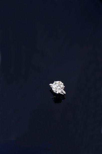 Solitaire en or gris 750°°, serti d'un diamant...