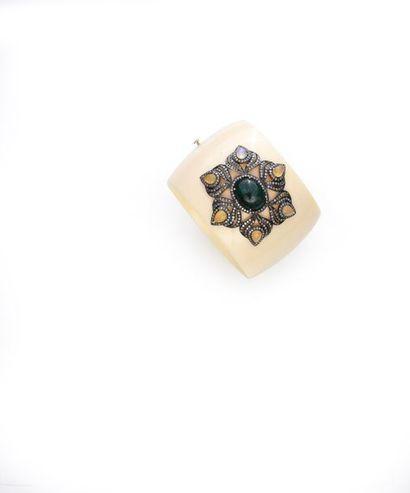 Bracelet manchette en résine blanche de couleur...