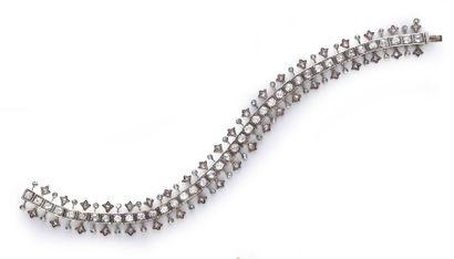 Bracelet souple en or 585e et argent 925e...