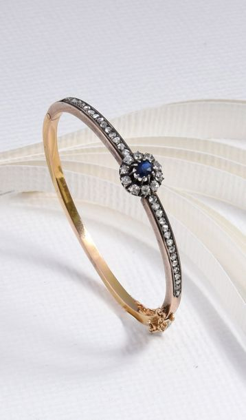 Bracelet jonc en or 750°° et argent800°°,...