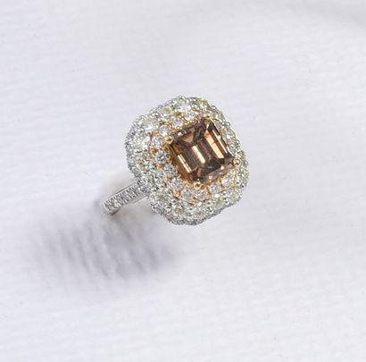 Bague en or gris 750°° sertie d'un diamant...