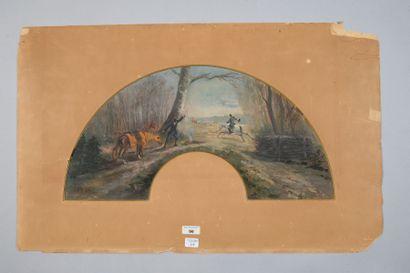 Le chasseur en bivouac, 1886 Feuille d'éventail...