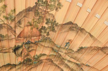 «Ita Ogi»,Vue de montagnes, Japon, vers 1890 Éventail de type brisé en bambou naturel...