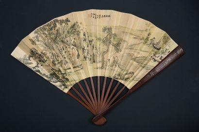 Réunion à Xiyuan, Chine, XXe siècle Éventail...