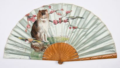 Le chat et les oiseaux, vers 1890 Éventail...
