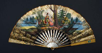 Effets de micro-mosaïque, vers 1830 Éventail...