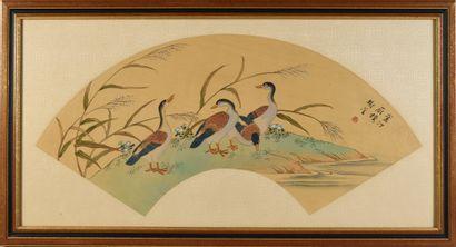 Les oies, Chine, vers 1900 Feuille d'éventail...