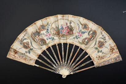 Marqueterie de paille, vers 1770-1780 Éventail...