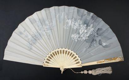 Billotey, Lilas blancs, vers 1890 Éventail...