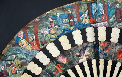 Cabriolet, Chine, XIXe siècle Éventail plié, dit «cabriolet» à deux feuilles en...