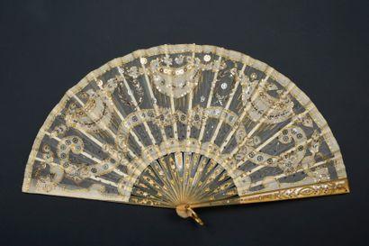 Lauriers d'or, vers 1910-1920 Éventail plié,...