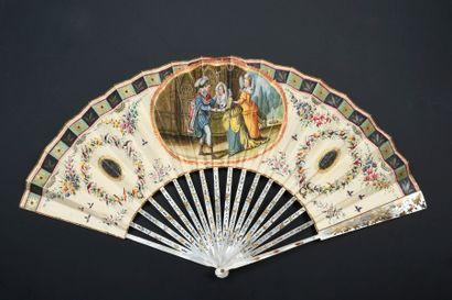 Les amours troubadours, vers 1840-1850 Éventail...