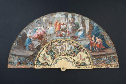 David et le roi, vers 1750 Éventail plié,...