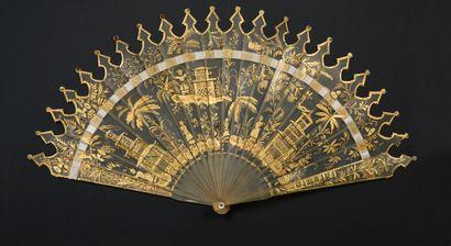 Pagodes chinoises, vers 1820 Éventail de...