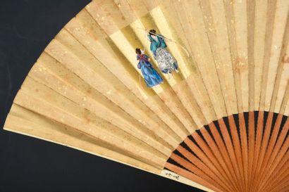Vie nippone, Japon, XIXe siècle Éventail plié, la feuille double en soie à fragments...