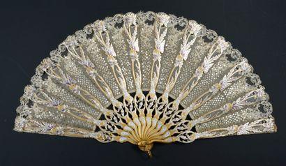 Les papillons d'argent, vers 1900 Éventail...