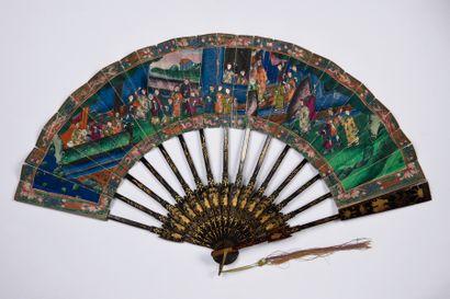 Éventail de poche, Chine, XIXe siècle Éventail plié, à système, la feuille double...