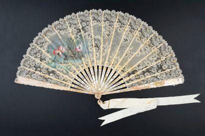 L'amoureux surpris, vers 1890-1900 Éventail...