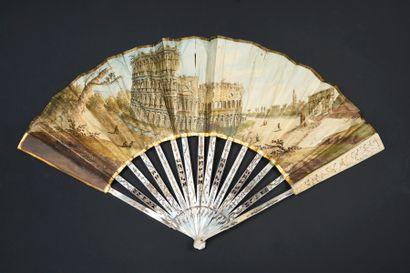 Le colisée, Italie, vers 1770 Éventail plié,...