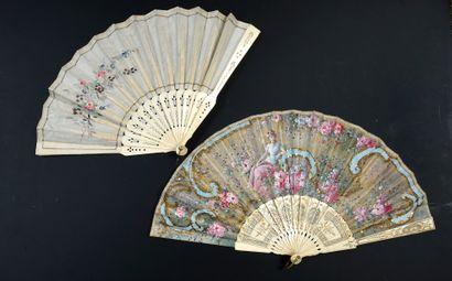 Rêveuse aux fleurs, vers 1900 Éventail plié,...