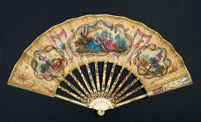 La montgolfière, vers 1783 Rare éventail...