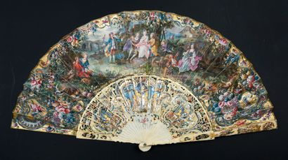 Le jeu de pied de bœuf, vers 1740-1750 Éventail...