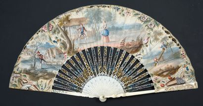 Le patineur, vers 1740-1750 Éventail plié,...