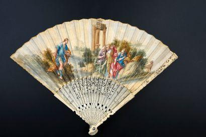 Diane et Actéon, début XVIIIe siècle Éventail...