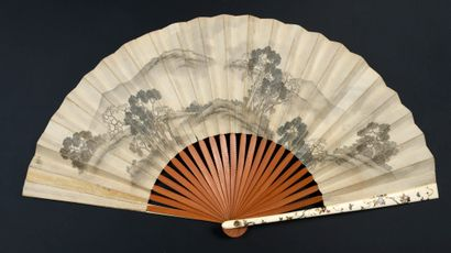 Des grues, Japon, XIXe siècle Éventail plié,...