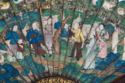 Chasse au tigre, Chine, XIXe siècle Éventail de type brisé en bambou peint d'un...